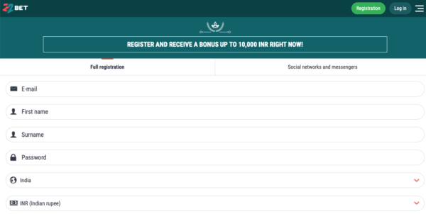 22bet india registration page