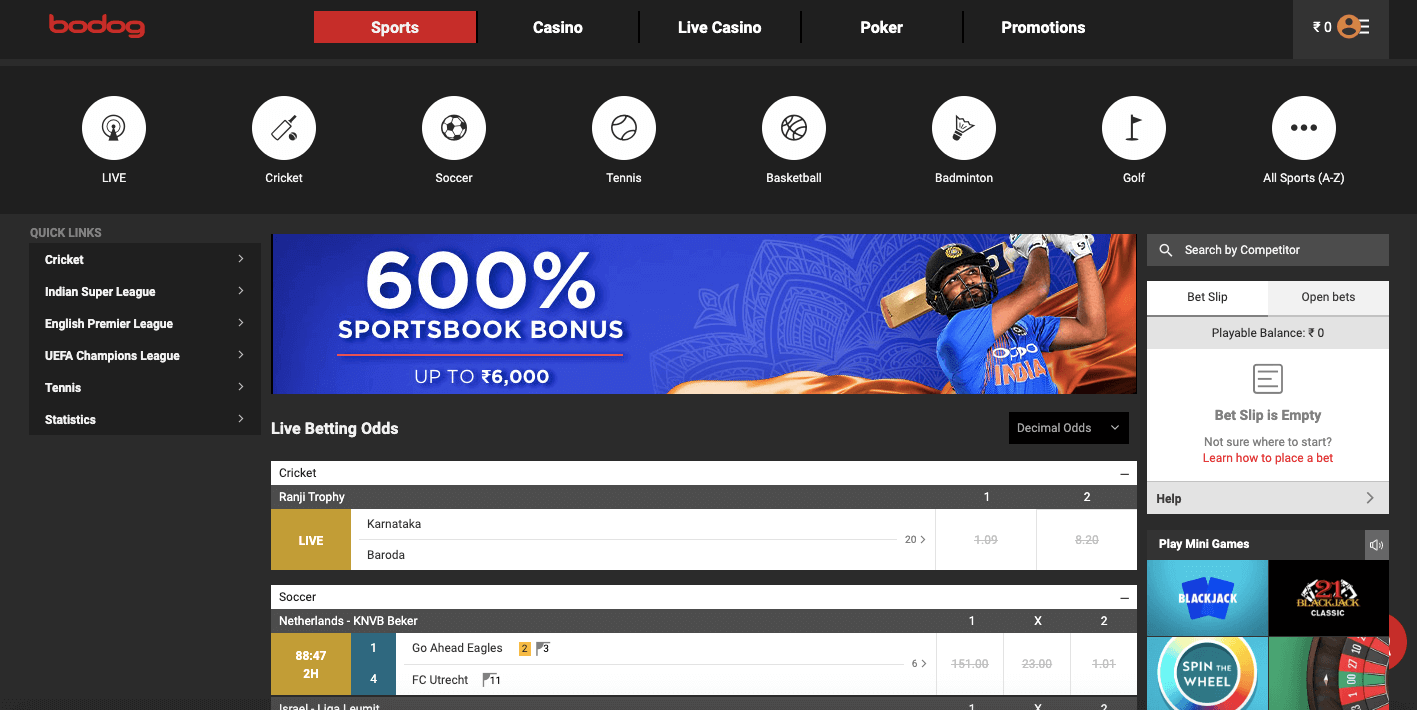 bodog india betting