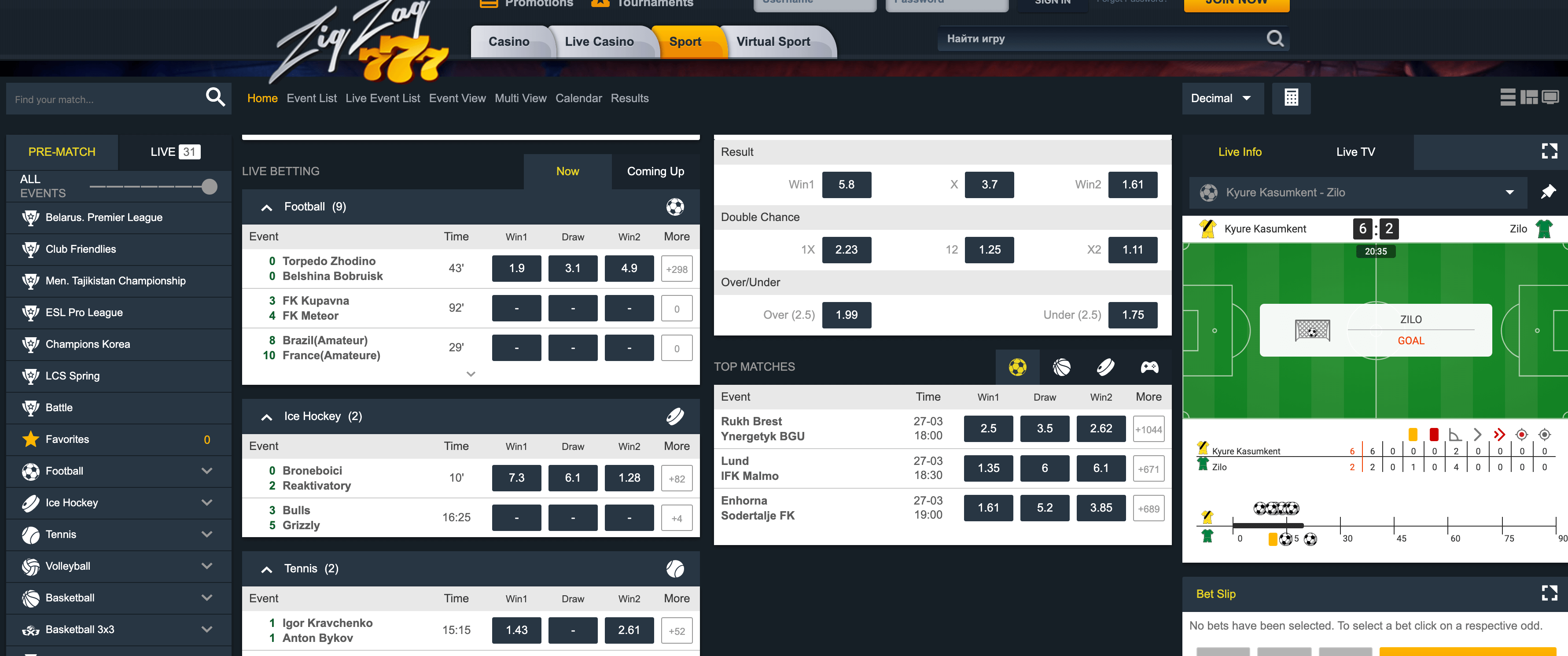 zigzag777 betting