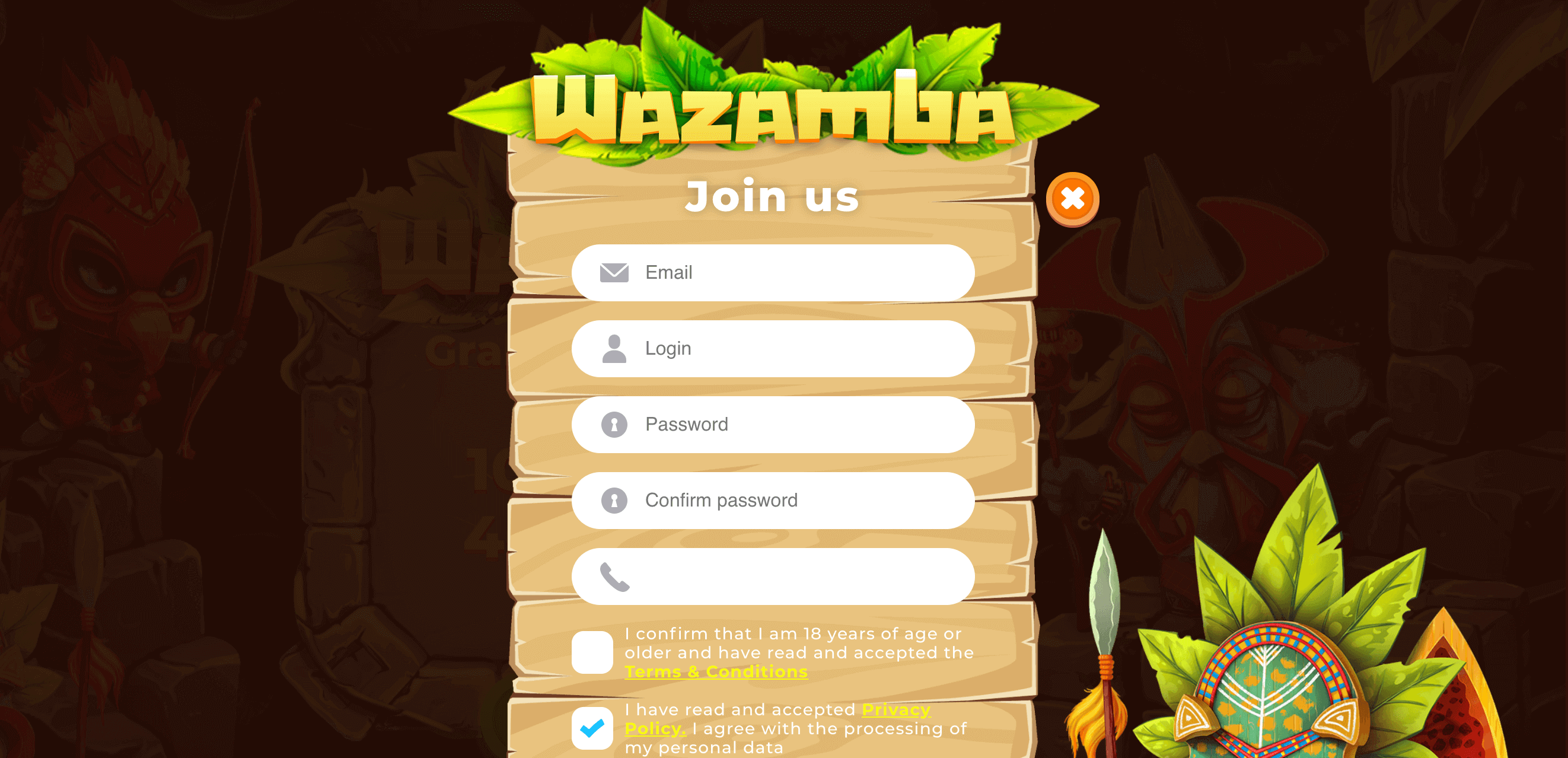 wazamba registration