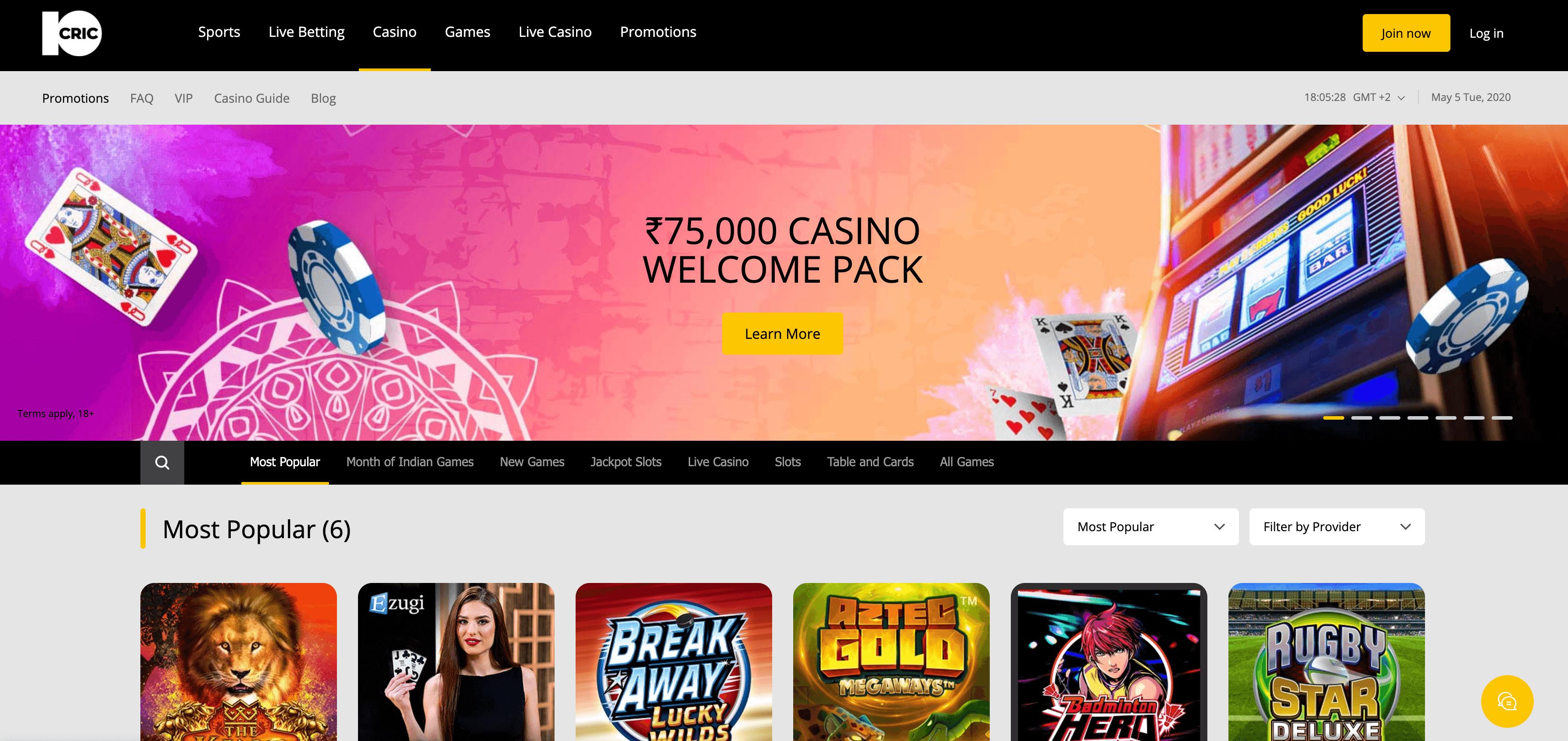 10cric casino homepage