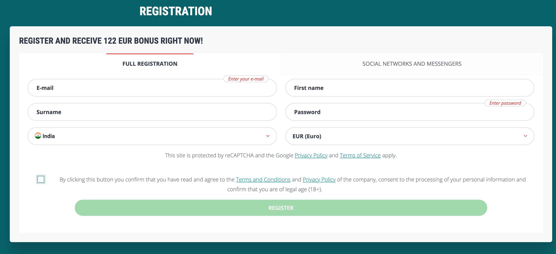 22bet india casino registration