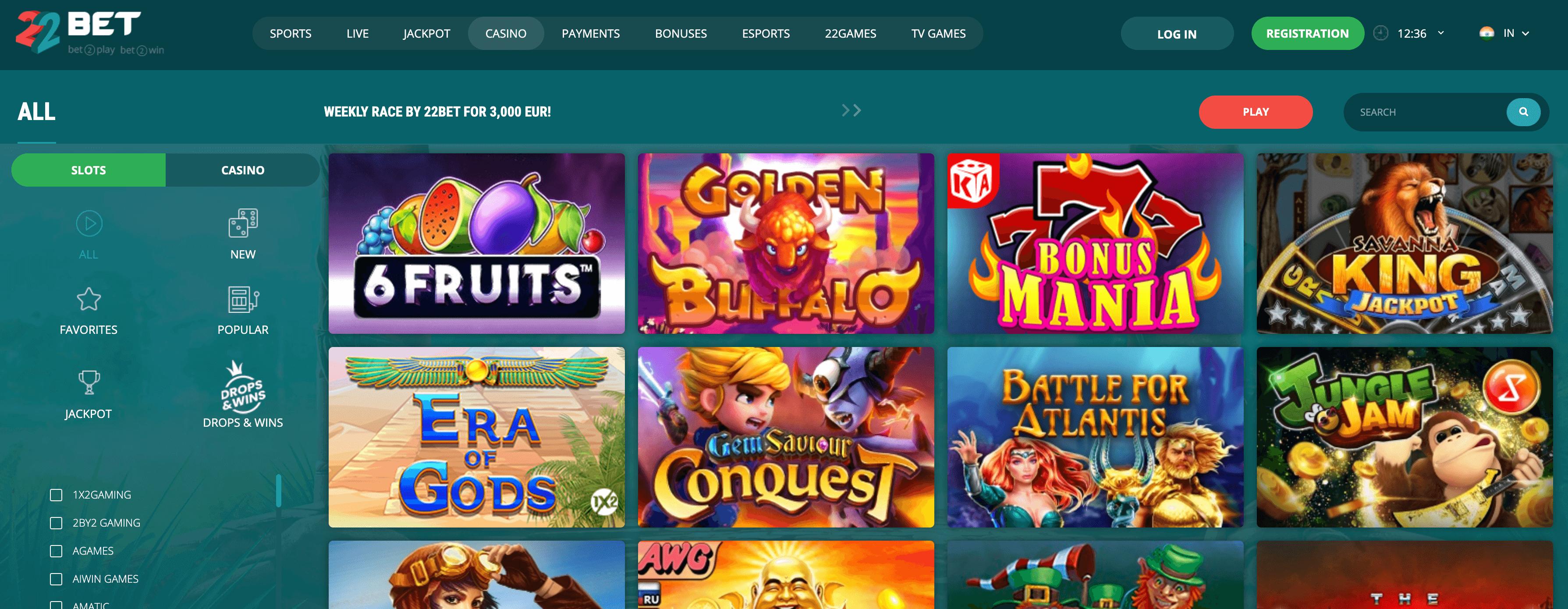 22bet india homepage casino