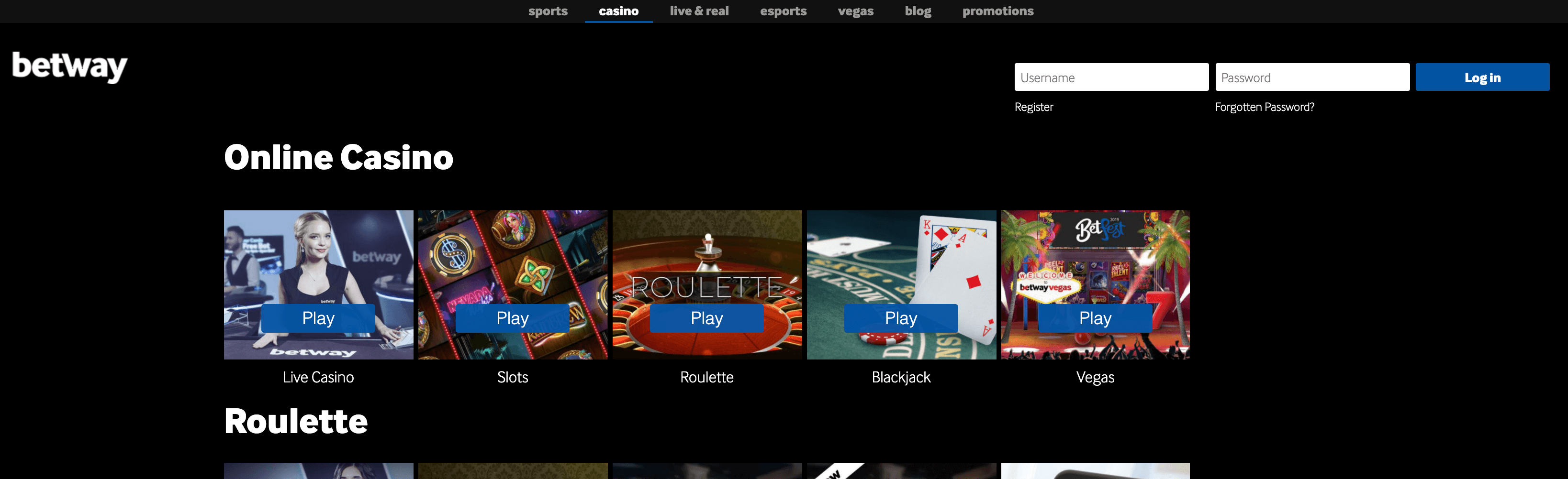 betway casino homepage
