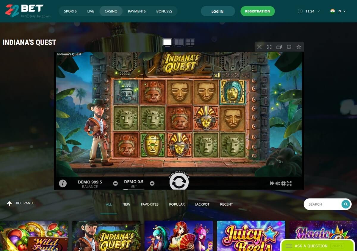 slot 22bet casino india