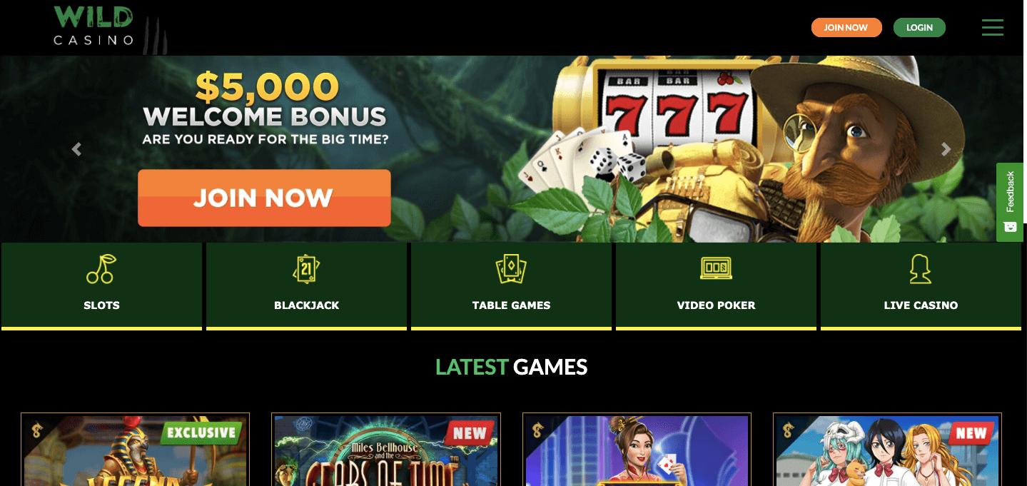 Wild Casino homepagee