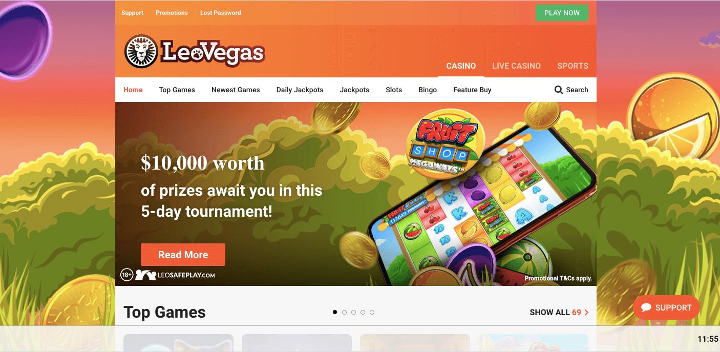 LeoVegas Casino Homepage