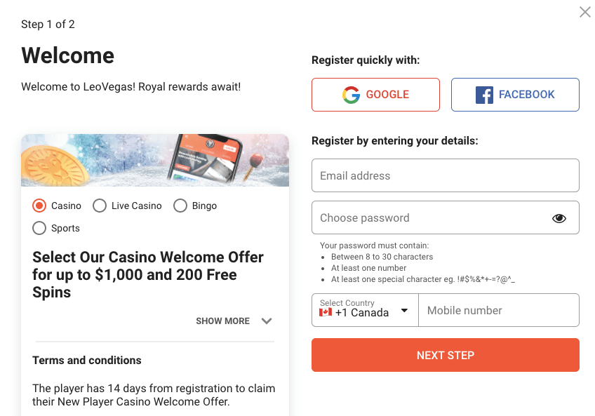 LeoVegas Casino Register