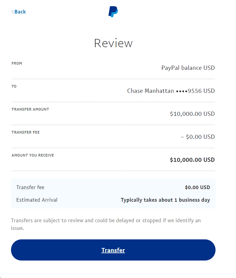 paypal money transfer withdrawal