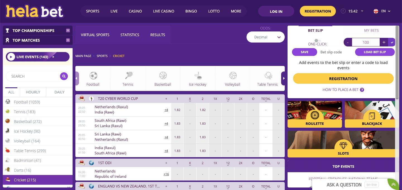 Helabet Homepage