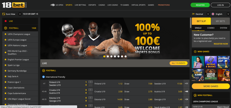 18bet Homepage