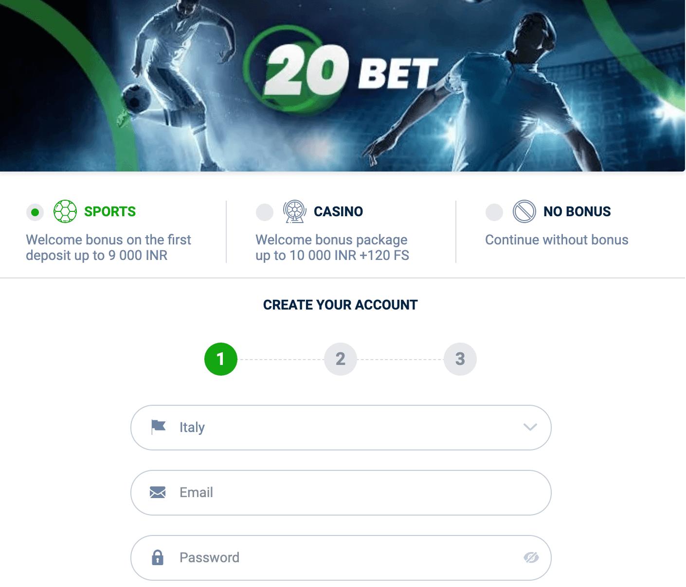 20bet register