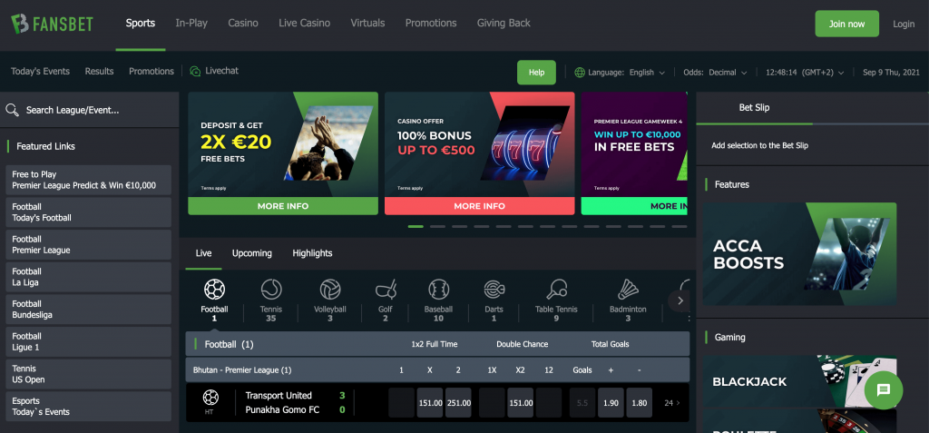 Fansbet Homepage