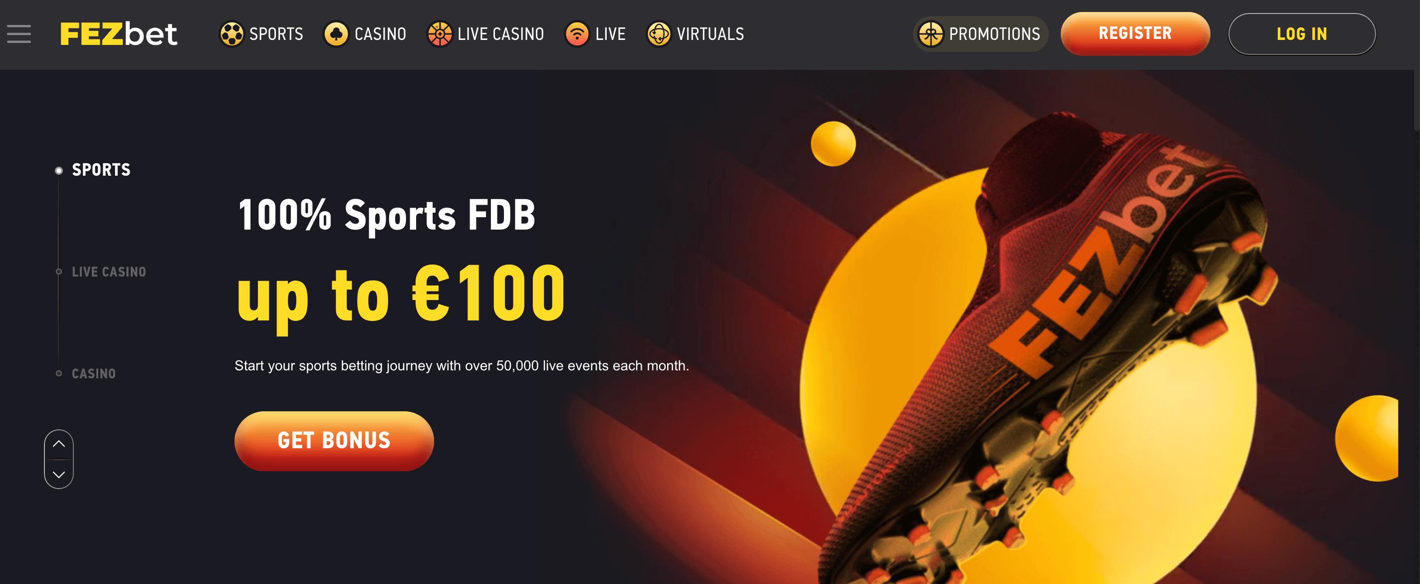 Fezbet homepage
