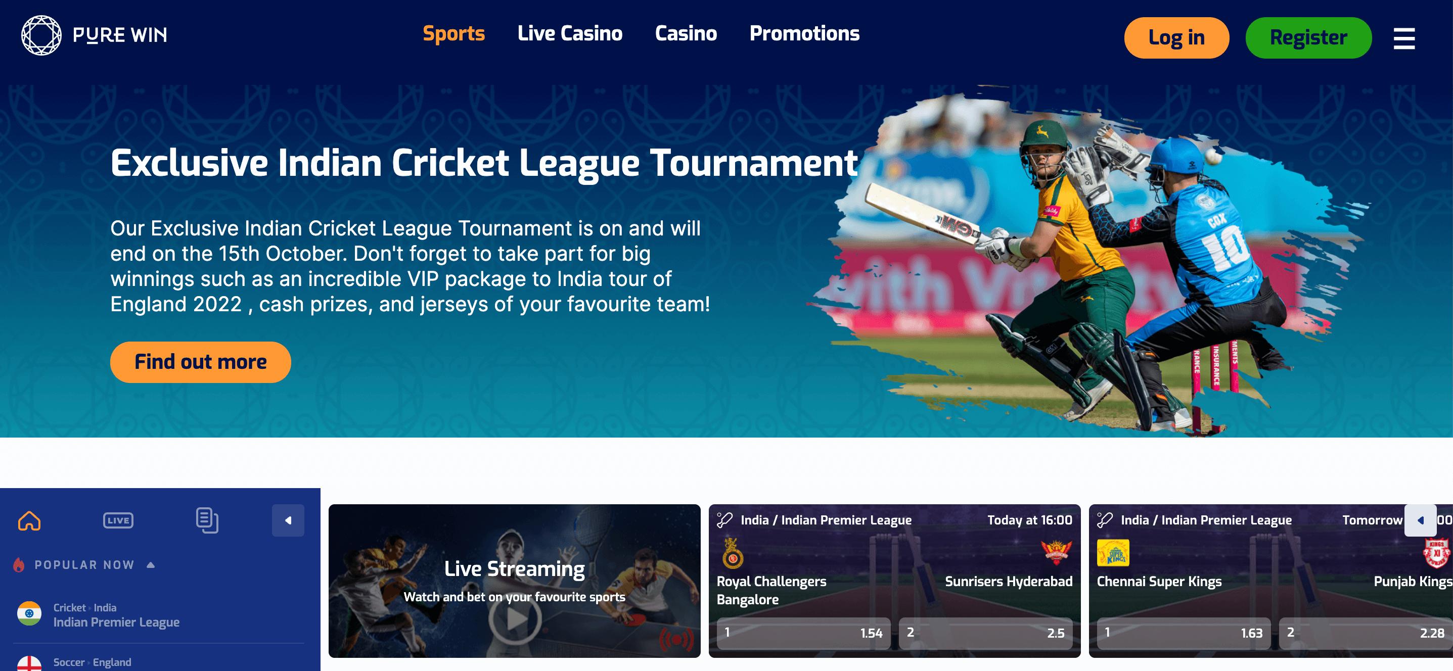 Pure Win Homepage
